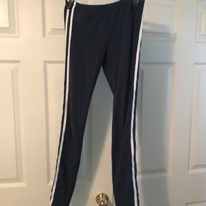Navy blue with white stripes down the side legging